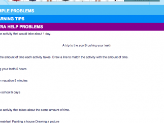 Sections list additional problems, learning tips, and other items to help kids understand concepts.