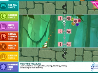 Landing page with game categories to the left and a daily featured game, in this case a frog jumping math game.