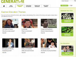 Generator's Education Themes help kids start thinking about the importance of story.