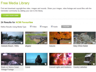 The Media Library is filled with images, sounds, and clips to add to a storyboard or film.