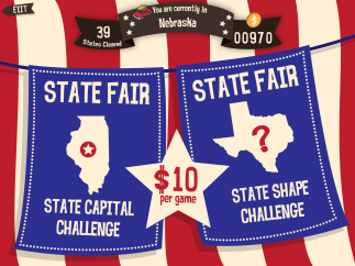 Some states feature mini-games that test additional facts.