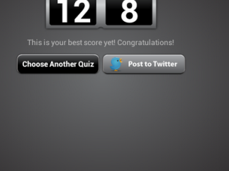 The app displays the student's score after every quiz.