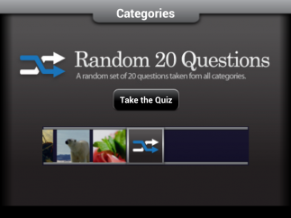 Students can pick a specific category or take a random quiz.