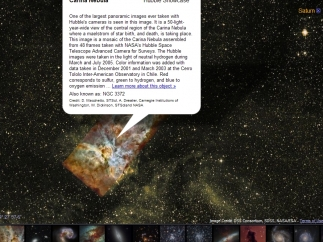 An image from the Hubble Showcase pasted onto the night sky; its pop-up information leads to a third-party source for more.