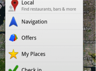 Google Maps main menu with search box, layers, and current location buttons at top.