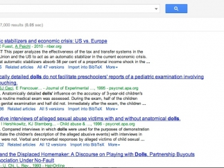 Search results include citation numbers, links to different versions and additional resources, and citation information.