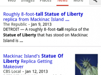 "News search results for the question ""How tall is the Statue of Liberty?"""