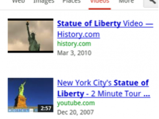 "Video search results for the question ""How tall is the Statue of Liberty?"""