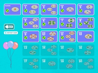 There are 20 levels in all, kids can repeat old levels, but can't jump ahead; you can also re-set the game to erase progress and start from the beginning.
