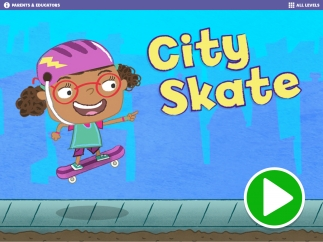 Tap the green button to begin a skating adventure; grown-ups can enter the parents and educators section to read about the research behind the app's development.