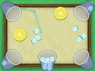 Tilt the iPad from side to side to make the cubes slide into the cups; drag cubes out with a finger to redistribute.