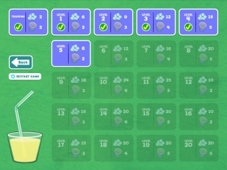 The number of cubes and cups increases, as does the number of obstacles such as ladybugs and lemon slices, while kids progress through 20 levels.