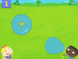 Each kid taps and holds a bubble wand as the bubble gets bigger and the target number of objects appears inside.