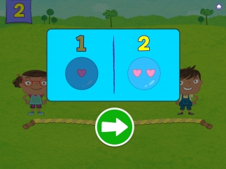If kids catch several bubbles with the wrong number, the game stops for a quick spotlight on determining quantity.