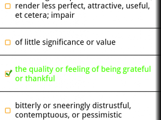 "Quiz page for gratitude (n) from the ""don't know"" list; correct answer in green text with green check mark; orange light-bulb icon is for cartoon hint."