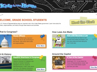 Each section of the site offers content geared to different age ranges -- here, to the early elementary years.
