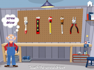Learn vocabulary by handing grandpa the tool he asks for.