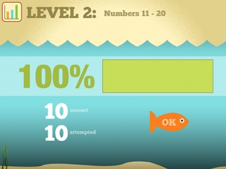 Kids can see their scores after finishing each level.