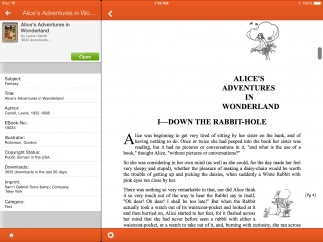 The app displays the text of rare books uploaded by Project Gutenberg.