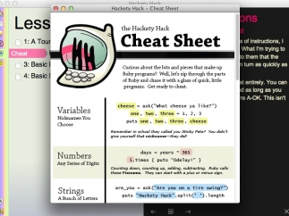 Kids can view a Cheat Sheet of terms and examples when they get stuck.