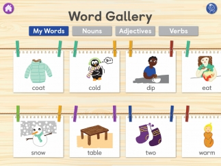 Words won in hangman are collected in a gallery and can be sorted by part of speech.