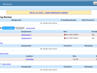 A view of the teacher dashboard.