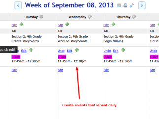 Create and view daily events and lessons or events that repeat.