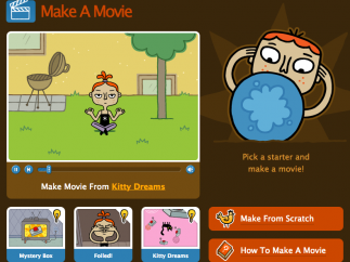 Students can either create a movie from scratch or choose from a template.