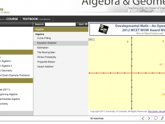 Interactive simulations from PhET are linked to each topic.