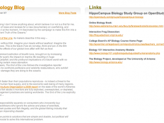Each topic also includes links to online study groups and blog entries.