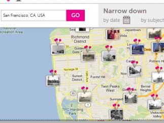 Pins show user-uploaded images across the city of San Francisco.