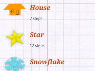 Main menu with first five projects showing finished product and number of steps.