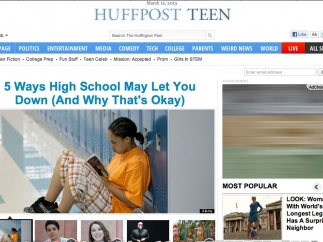Many of the subjects listed on the HuffPost Teen homepage link to other sites in the Huffington Post network.