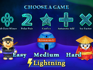 Game menu with lightning level selected.