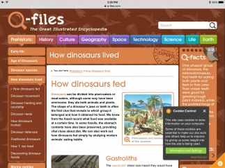 Kids can select any topic (here, dinosaurs) and explore text and images to learn more.