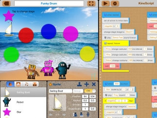 Point-and-click programming entices the learner to experiment.