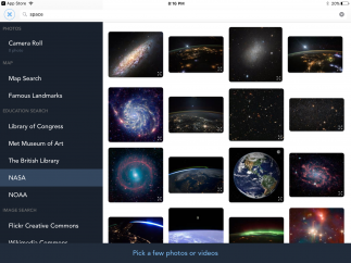 Students can pull images from their device or several other online sources, including NASA and The Library of Congress.