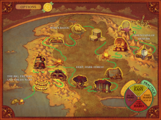 Beautiful map lets player track progress and view accomplishments.