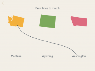 In one activity, kids match state names to their shapes.