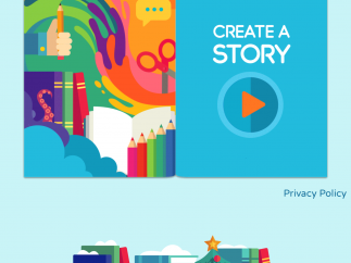 The home page of the app lets kids create a story.