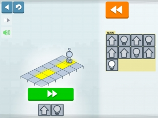Move the Lightbot and light the squares.