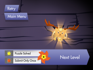 Correctly solving the puzzle transforms the blocky solid into a quirky creature.