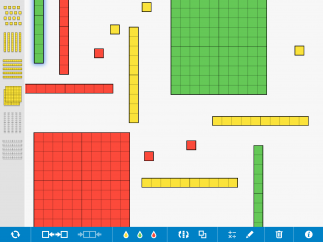 Clicking on a block on the left toolbar adds it to the board, where it can be moved, re-colored, or broken apart.