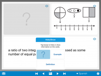 The interface shows three parts: a definition, an example, and the math term.