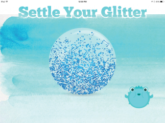 Kids shake the iPad and watch the glitter shapes move around the orb while the puffer fish helps kids practice mindful breathing.