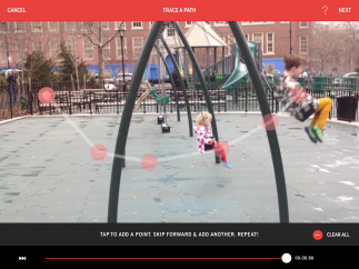 Drag the scrubber and tap on the video to create motion paths.