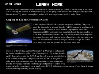 "The ""Learn More"" section is mostly about NASA satellites but does discuss the carbon cycle."