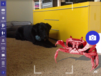 Students can add virtual props from a nice library of ridiculous objects to create fun forced-perspective images.