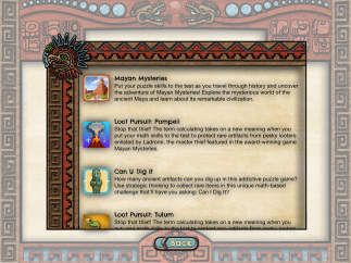 Users can discover (and link to purchase) the developer's other historical games from the app's home screen.