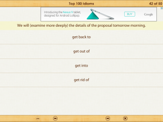 In the quizzes, users pick the correct idiom to match the definition. Distractor choices are helpfully tricky.